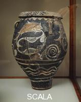 Minoan art Pithoid Jar with Fish Kamares ware, 2000-1700 b.C., from Phaistos