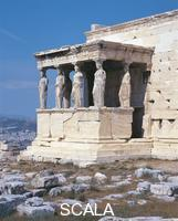 Greek art Old ruins of a temple: the Erechtheum, Caryatid porch  (421/406 B.C.E.).