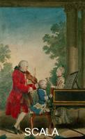 Carmontelle, Louis Carrogis (1717-1806) Leopold Mozart with the sons Wolfgang Amadeus and Anna Maria called Nannerl, 1763