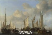 Velde, Willem van de the Younger (1633-1707) A Dutch Yacht surrounded by Many Small Vessels, saluting as Two Barges pull alongside, 1661