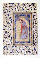 Persian art Miniature with portrait of a princess