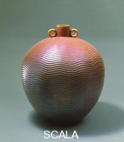 Faience Pottery Spherical vase with narrow neck and ring-shaped handles (Anselmo Bucci 1940-1950)