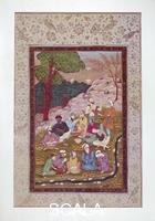 Persian art Miniature with group of dervishes eating in the open air