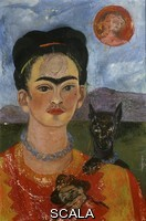 Kahlo, Frida (1907-1954) Self Portrait with Ixcuintle dog and sun. 1953-1954.