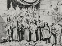 ******** The town butcher on Easter Sunday, Rome, Italy, from an 1831 print by Bartolomeo Pinelli, from L'Illustrazione Italiana, Year XL, No 12, March 23, 1913.