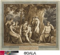 Pinelli, Bartolomeo (1781-1835) Calypso Watches Telemachus with Cupid on His Knee, While Mentor Watches in Anger, from The Adventures of Telemachus, Book 7. 1808. Pen and black ink, with brush and brown and gray wash, over traces of black chalk on ivory laid paper, laid down on board, 472 x 590 mm (sight); 558 x 667 mm (overall). Wirt D. Walker Fund, 1963.563.