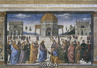 Perugino (1445/50-1523) Handing of the Keys to Saint Peter [before restoration]