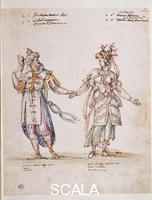Buontalenti, Bernardo (1536-1608) Designs for the costumes of 'La Pellegrina,' 1589: Delphic couple. Drawing, 463 x 373 mm