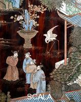 Chinese art Screen called 'Coromandel' with scenes from the life in the forbidden town of Peking: Dignitaries in the garden