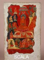 Tibetan art Wall painting with a meta-historical depiction of the first sermon of the Buddha. Tibet, 14th-15th century