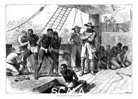 ******** Captives being brought on board a slave ship on the West Coast of Africa (Slave Coast), c. 1880