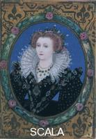 Hilliard, Nicholas (c. 1547-1619) Elizabeth I (1533-1603), Queen of England. Miniature from her Small Prayer Book, written by the Queen herself
