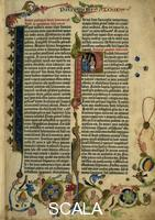 ******** Page from the Gutenberg Bible, text printed with moveable letters and hand painted initials and marginalia. Page 1 recto with initial 'I' (prologue of Jerome) and initial 'P' with depiction of King Solomon (Proverbs)