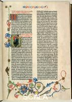 ******** Page from the Gutenberg Bible, text printed with moveable letters and hand painted initials and marginalia. Page 162 recto with initials 'M' and 'E' and depiction of Alexander the Great