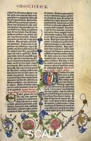 ******** Page from the Gutenberg Bible, text printed with moveable letters and hand painted initials and marginalia. Page 105 recto, the book of Ezekiel with initial 'E' and depiction of the prophet
