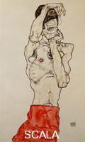 Schiele, Egon (1890-1918) Standing Male Nude With Red Loincloth, 1914